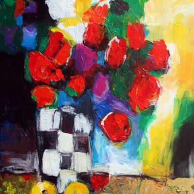 stilleven met bloemen 80x60 acryl paneel